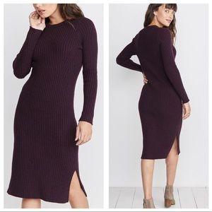 MARINE LAYER Marnie Ribbed Midi Sweater Dress L